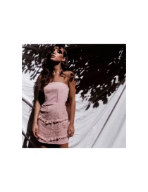 Fashion Lotus Color Solid Color Lace And Crochet One-line Neck Wrap Breasted Strapless Dress