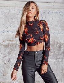 Fashion Color Flame Print Open Back Lace Long Sleeve T-shirt