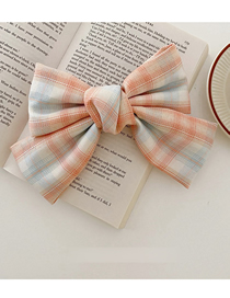 Fashion Spring Clip-pink Large Bow Fabric Lattice Hairpin
