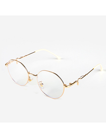 Fashion Golden Anti-blue Geometric Metal Flat Glasses