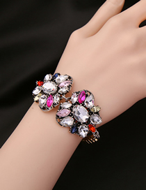 Fashion Color Mixing Alloy Flower Bracelet With Diamonds