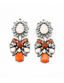 Fashion Color Mixing Alloy Flower Drop-shaped Diamond Earrings