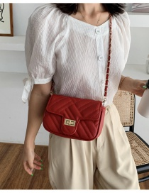 Fashion Red Chain Rhomboid Lock Crossbody Shoulder Bag
