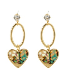 Fashion Golden Geometric Stitching Natural Abalone Shell Earrings