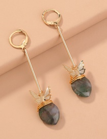 Fashion Golden Handmade Butterfly Natural Agate Stone Alloy Earrings