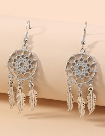 Fashion Silver Dream Catcher Feather Alloy Hollow Round Earrings