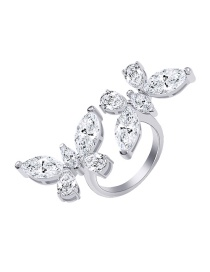 Fashion White K Diamond Double Butterfly Alloy Open Ring