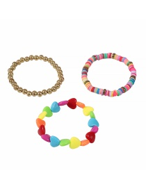 Fashion Color Soft Pottery Love Resin Beaded Alloy Bracelet Set