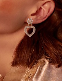 Fashion Golden White Diamonds Diamond Heart Alloy Hollow Earrings