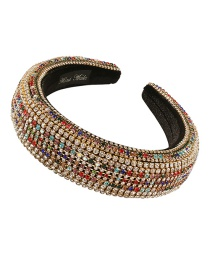 Fashion Color Wide-brimmed Sponge Headband With Diamonds
