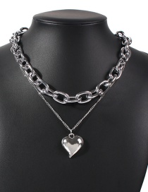 Fashion White K Heart Alloy Thick Chain Alloy Multilayer Necklace