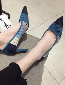 Fashion Blue Thick High-heeled Pointed Toe Stitching Shoes