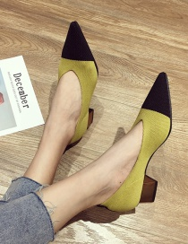 Fashion Yellow Thick Mid-heel Pointed Toe Color Matching Flying Needle Shoes