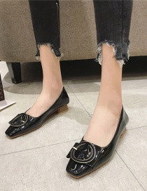 Fashion Black Shallow Mouth Thick Heel Square Toe Shoes