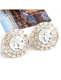 Fashion Golden Claw Chain Round Alloy Diamond Earrings