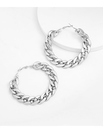 Fashion No. 7 Silver Alloy Chain Type Round Hollow Earrings