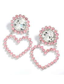 Fashion Pink Round Heart Alloy Diamond Earrings