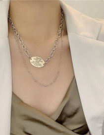 Fashion Silver Color Stainless Steel Thick Chain Alloy Round Multilayer Necklace