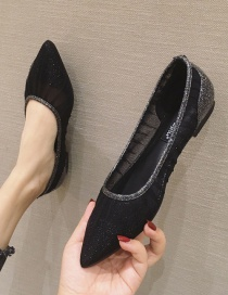 Fashion Black Pointed Toe Flat Breathable Mesh Hollow Shoes