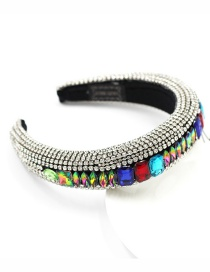 Fashion Silver Color Geometric Sponge Broad-brimmed Headband With Diamonds And Gems