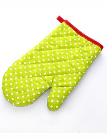 Fashion Small Dot-green Thickened Heat-insulated Microwave Oven Special Baking Gloves