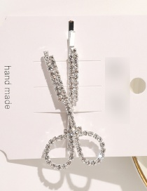 Fashion Silver Alloy Hollow Hairpin With Diamond Scissors