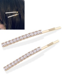 Fashion Golden One Copper Inlaid Zircon Square Word Hairpin
