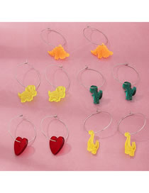 Fashion Color Mixing Resin Love Dinosaur Geometric Round Alloy Earrings Set