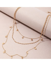 Fashion Golden Round Bead Love Heart Piece Alloy Multilayer Necklace
