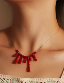 Fashion Red Rice Beads Bead Alloy Tassel Necklace