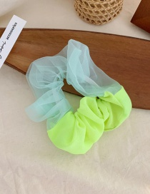 Fashion Fluorescent Green Mesh Contrast Color Elastic Large Bowel Hair Rope