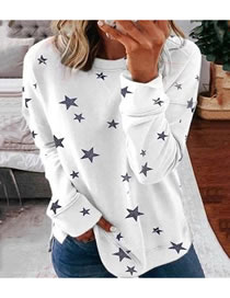 Fashion White Printed Five-pointed Star Round Neck Loose Sweater