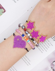 Fashion Suit Purple Hand-woven Rice Beads Love Natural Pearl Bracelet