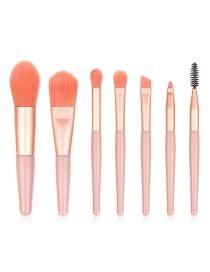 Fashion 7 Pink Wooden Handle Aluminum Tube Makeup Brush Set