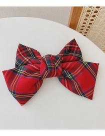 Fashion Big Bow No. 1 Color Fabric Lattice Butterfly Combined With Gold Clip Spring Clip