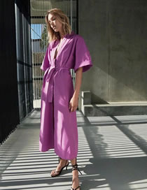 Fashion Purple Poplin Shirt Dress With Belt
