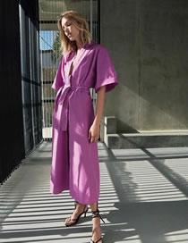 Fashion Purple Poplin Shirt Dress With Belt