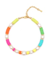 Fashion Color Mixing Clay Natural Freshwater Pearl Beaded Anklet