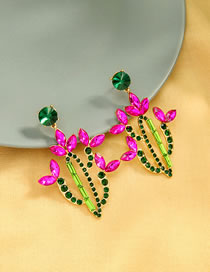 Fashion Color Mixing Diamond Alloy Cactus Earrings