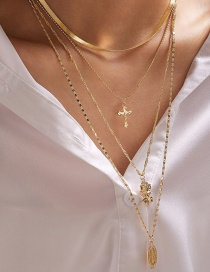 Fashion Golden Rose Alloy Cross Multilayer Necklace