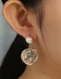 Fashion Golden Pearl Round Natural Abalone Earrings