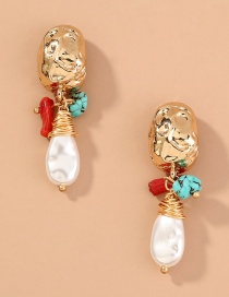 Fashion Golden Natural Stone Pearl Turquoise Geometric Earrings