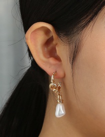 Fashion Golden C-shaped Special-shaped Pearl Pendant Earrings