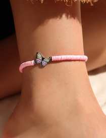 Fashion Pink Clay Butterfly Pendant Anklet