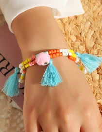 Fashion Color Mixing Rice Beads Pearl Hair Ball Tassel Pendant Bracelet