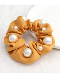 Fashion Yellow Pure Color Fabric Size Pearl Large Intestine Ring Hair Rope