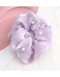 Fashion Lavender Pure Color Gold Silk Cloth Diamond Pearl Large Intestine Circle Hair Rope