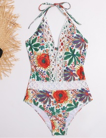 Fashion Color Mixing Printed Lace Open Back Lace-up Swimsuit