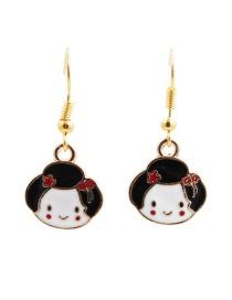 Fashion Geisha Geisha Fan Alloy Drip Earrings