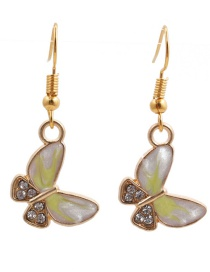 Fashion Yellow Resin Butterfly And Diamond Alloy Earrings